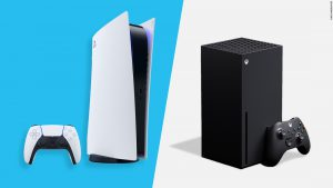 A side-by-side comparison of the PlayStation 5 and the Xbox Series X