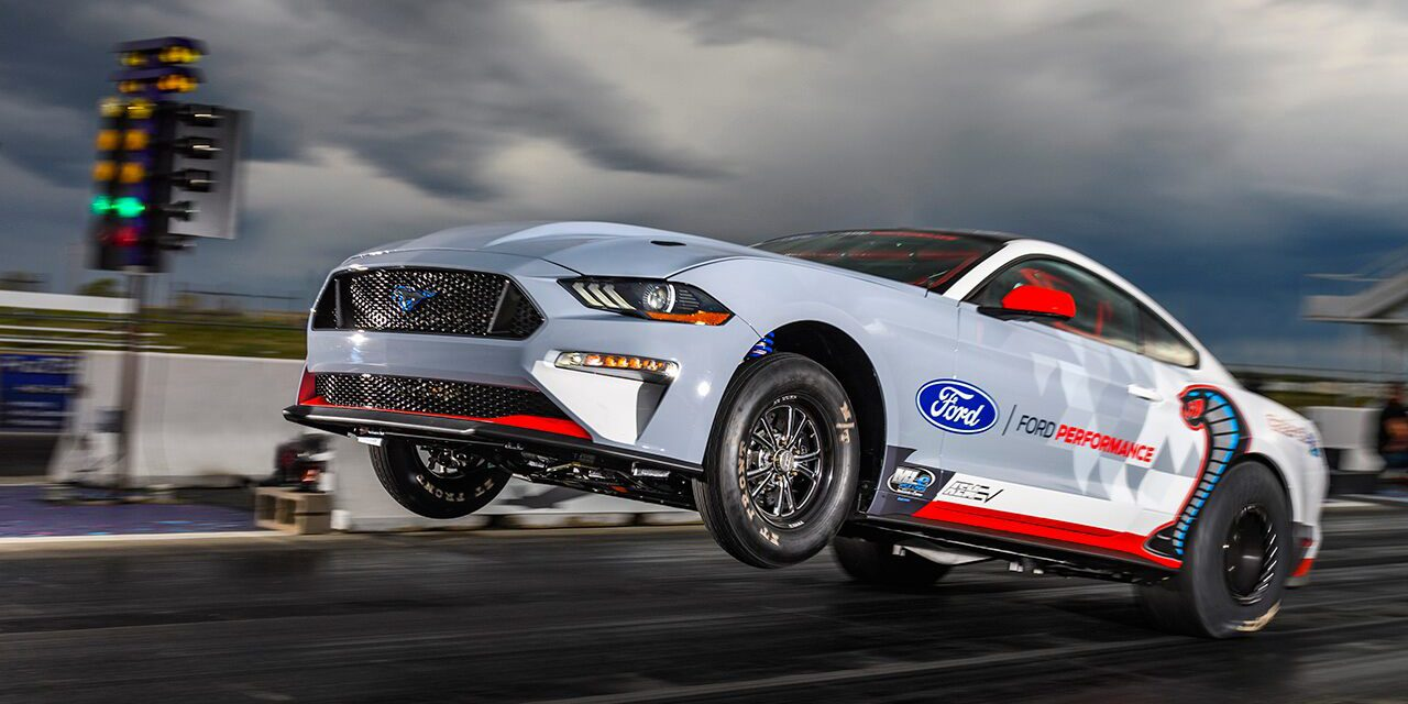 Watch: Electric Ford Mustang Cobra Jet 1400 loses drag race to gas-powered Mustang, but bests Chevy
